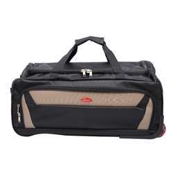 Smart Duffle Travelling Bag With Plastic Wheel (Black with Beige Patches) - 3 Different Sizes