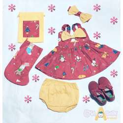 CHA-A-BABY Christmas Red Girl With 2 Bow Dress (6-9 Months)