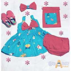 CHA-A-BABY Christmas Blue Girl With 2 Bow Dress (9-12 Months)