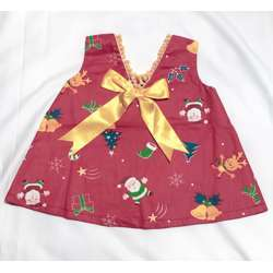 CHA-A-BABY Christmas Red Girl With 1 Bow Dress (9-12 Months)