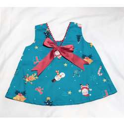 CHA-A-BABY Christmas Blue Girl With 1 Bow Dress (6 To 9 Months)