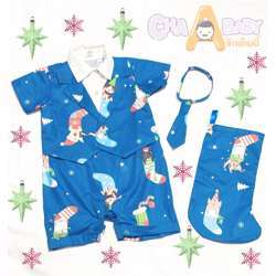 CHA-A-BABY Christmas Blue Boy Suit (9-12 Months)