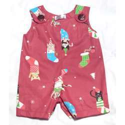 CHA-A-BABY Christmas Red Boy Onesie (6 To 9 Months)
