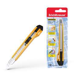 Erichkrause® Universal Stationery Knife With Automatic Blade Fixation, 9mm