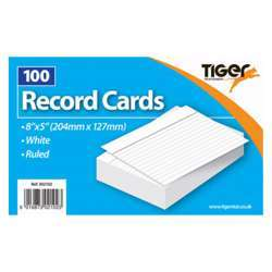 """Tiger Record/Revision Cards, White 8x5"""""""