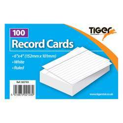 """Tiger Record Cards White Ruled 6x4"""""""