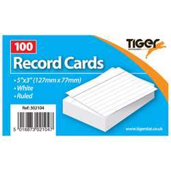 """Tiger Record Cards White Ruled 5x3"""""""