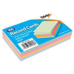 """Tiger Record Cards Ruled Coloured 5x3"""""""