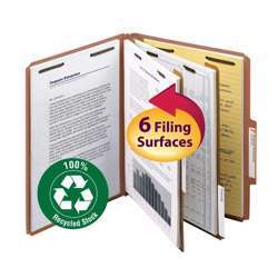 Smead 100% Recycled Pressboard Classification File Folder 2 Dividers 2in- Expansion Red