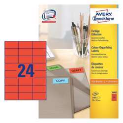 Avery Coloured Labels 70x37mm Red