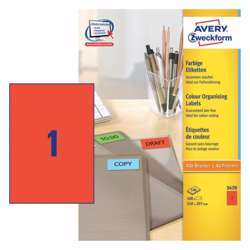 Avery Coloured Labels 210x297mm Red