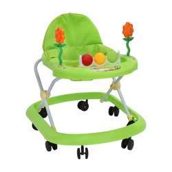 Baby Plus BP9072 Baby Walker Toddler - Portable Folding Walker Universal Wheeled Walker Anti-Rollover Folding Walker With Seat & Feeding Tray, Adjustable Height   Ideal For Boys & Girls 6-12 Months