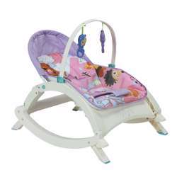 Baby Plus Music Portable Rocker - Cozy Recline Position & Smooth Vibration - Removable Overhead Toy Bar - Music & Vibration - 2-Point Safety Belt - Foldable Design