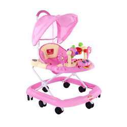 Baby Plus BP6002 W Pink Baby Walker With Canopy, 4-16 M