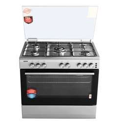 Geepas GCR9062FST 90*60 Cooking Range - 5 Gas Euro Pool Type Burners Gas Oven & Grill, Heavy Duty Metal Knobs Glass Lid With Manual Timer   Push Ignition Button Perfect For Cook, Bake & Grill   1 Year Warranty