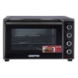 Geepas GO34012 60L Electric Oven - 2000W With Rotisserie And Convection Functions | Grill Function, 60 Minute Timer & Inside Lamp | 4 Control Knobs | 2 Years Warranty
