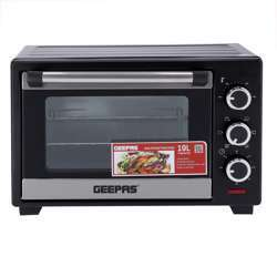 Geepas GO34044 19L Electric Kitchen Oven - Powerful 1280W With Crumb Tray, 60 Minutes Timer & Rotisserie & Convection Function | 6 Selectors For Baking & Grilling | 4 Accessories Included
