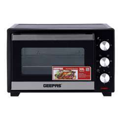 Geepas GO34045 30L Electric Kitchen Oven - Powerful 1600W With Crumb Tray, 60 Minutes Timer & Rotisserie & Convection Function | 6 Selectors For Baking & Grilling | 4 Accessories Included