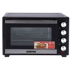 Geepas GO34046 38L Electric Kitchen Oven - Powerful 1600W With Crumb Tray, 60 Minutes Timer & Rotisserie & Convection Function | 6 Selectors For Baking & Grilling | 4 Accessories Included