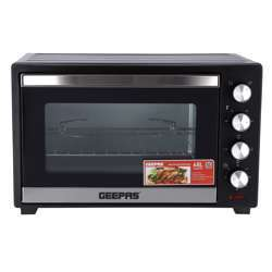 Geepas GO34047 48L Electric Kitchen Oven - Powerful 2000W With Crumb Tray, 60 Minutes Timer & Rotisserie & Convection Function | 6 Selectors For Baking & Grilling | 4 Accessories Included
