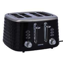 Geepas GBT36537 4 Slice Bread Toaster - Adjustable 7 Browning Control 4 Slice Pop-Up Toaster With Removable Crumb Collection Tray, Self-Centering   Cancel, Defrost & Reheat   Perfect Sandwiches, Toast & More