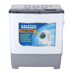 Krypton KNSWM6161 Semi-Automatic Washing Machine - Portable Compact 6 Kg Washing Capacity Laundry Washer Spin, Counter Top Washer-Twin Tub Washer Machine With Wash And Spin Cycle Compartments