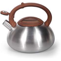 Royalford Rf9669 3L Whistling Kettle - Portable Design Whistling Tea Kettle With Heat Wooden Finish Lid & Handle | Ergonomic Pouring Spout | Compatible With Gas, Induction, Hot Plate, Halogen, & Ceramic Tops