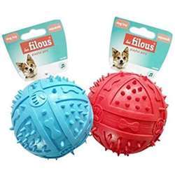 Les Filous Assorted Rubber Ball W/ Squeaker-Dia.9cm Red & Blue (1x6)