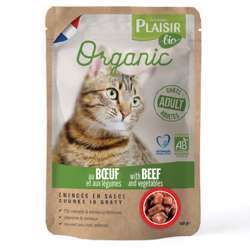 Plaisir Bio Complete Food For Cats, Chunks Ingavy With Beef & Vegetables 100g (1x22)