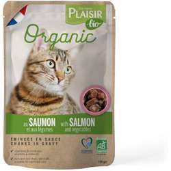 Plaisir Bio Complete Food For Cats, Chunks Ingavy With Salmon & Vegetables 100g (1x22)
