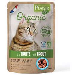 Plaisir Bio Complete Food For Cats, Chunks Ingavy With Trout 100g (1x22)