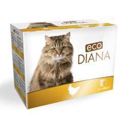 Eco Diana Complete Food For Cats, 12 Pouches Of 100g, Chunks With Chicken In Gavy (1x4)