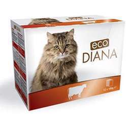 Eco Diana Complete Food For Cats, 12 Pouches Of 100g, Chunks With Beef In Gravy (1x4)