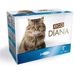 Eco Diana Complete Food For Cats, 12 Pouches Of 100g, Chunks With Fish In Gravy (1x4)