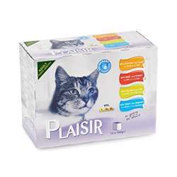Plaisir Cats Chunks In Gravy 12 Pouches Of 100g In Mutli Pack (1x4)