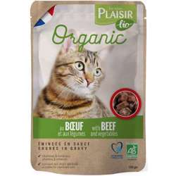 Plaisir Bio Complete Food For Cats, Chunks In Gravy With Poultry & Vegetables 100g (1x22)