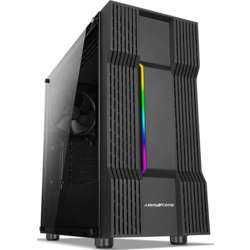 Abkoncore C610S Atx Mid-Tower Pc Gaming Case, Magnetic Dust Filter, Full Transparent Acrylic Side Panel, 7 Led Changing Modes, Water Cooling Ready, And One Pre-Installed 140Mm Fan