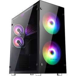 """Abkoncore Ramsses 850 Sync Case """"200Mm*2 Argb Sync Fan On Front 120Mm*2 Hurricane Sync Fan On Rear With Sync Control Hub Tempered Glass For Left And Right Panel Abko-R850"""
