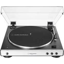 Audio-Technica At-Lp60Xbt Fully Automatic Bluetooth Belt-Drive Stereo Turntable, White, Hi-Fidelity, Plays 33 -1/3 And 45 Rpm Vinyl Records, Dust Cover, Anti-Resonance, Die-Cast Aluminum Platter