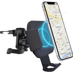 Cygnett 10W Wireless Smartphone Car Charger Vent Mount - Wireless Fast Charging, Adjustable Fit For Different Phone Sizes, Power Adaptor & Cable Included - Black
