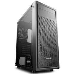 Deepcool E-Shield Tempered Glass Mid-Tower E-Atx Case,1×120Mm Black Fan Pre-Installed, Tempered Glass Side Panel