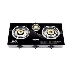Geepas GK6880 Stainless Steel Gas Cooker with Tempered Glass