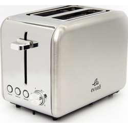 Evvoli 2 Slice Toaster Stainless Steel Removable Crumb Tray