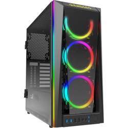 Gamdias Talos M1B Tempered Glass Gaming Case, Three Built-In 120Mm Double Ring Argb Fans, Tempered Glass Panel With Swing Door Design, Vertical Radiator View