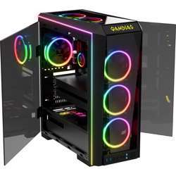 Gamdias Talos P1A Atx Mid-Tower Computer Case, Tempered Glass Front/Side/Top Panels, Dual Hinged Side Doors, Built-In Vertical Gpu Holder Swap-Able I/O Plate
