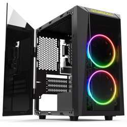 Gamdias Talos E1 Tempered Glass Gaming Case, 2X 120Mm Dual Ring Rgb Fans, One Side Swing Door Held Closed, Handy Control Centre, Simple Rgb Management Talos