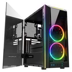 Gamdias Talos M1A Tempered Glass Gaming Case, 2X 20Mm Dual Ring Rgb Fans, Vertical Radiator View, Vertical Graphics Card Holder Talos