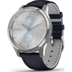 Garmin Vivomove Luxe Silver Stainless Steel Case With Navy Italian Leather Band Smartwatch - Steel/Navy