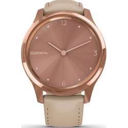 Garmin Vivomove Luxe 18K Rose Gold Pvd Stainless Steel Case With Light Sand Italian Leather Band Smartwatch - Steel/Sand