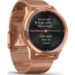 Garmin Vivomove Luxe 18K Rose Gold Pvd Stainless Steel Case With Rose Gold Milanese Band Smartwatch - Steel/Gold